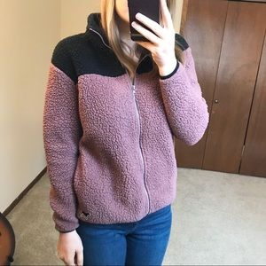 PINK Victoria's Secret Sherpa Full Zip mauve XS